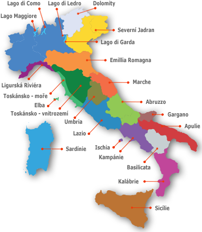 Dovolená Itálie - mapa oblastí v Itálii